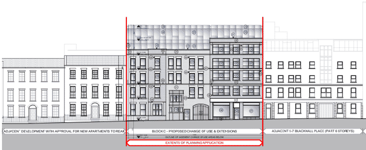 Blackhall Place Proposed Floor Elevation by Douglas Wallace Dublin Architects